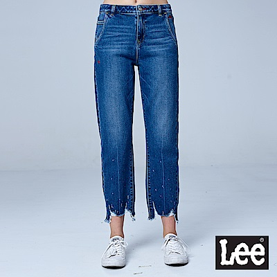 Lee 415高腰合身直筒牛仔褲/RG-中藍色