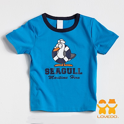 【LOVEDO-艾唯多童裝】帥氣海鷗塗印 短袖T恤 (藍)