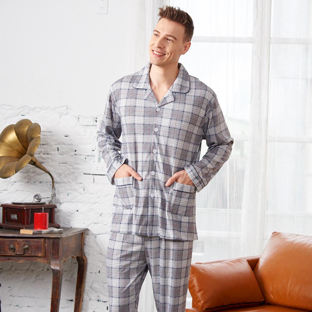 睡衣 經典格紋 針織棉男性長袖兩件式睡衣(R78222-6灰色) 蕾妮塔塔