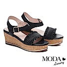 涼鞋 MODA Luxury 輕甜抓皺一字帶設計羊皮楔型涼鞋-黑