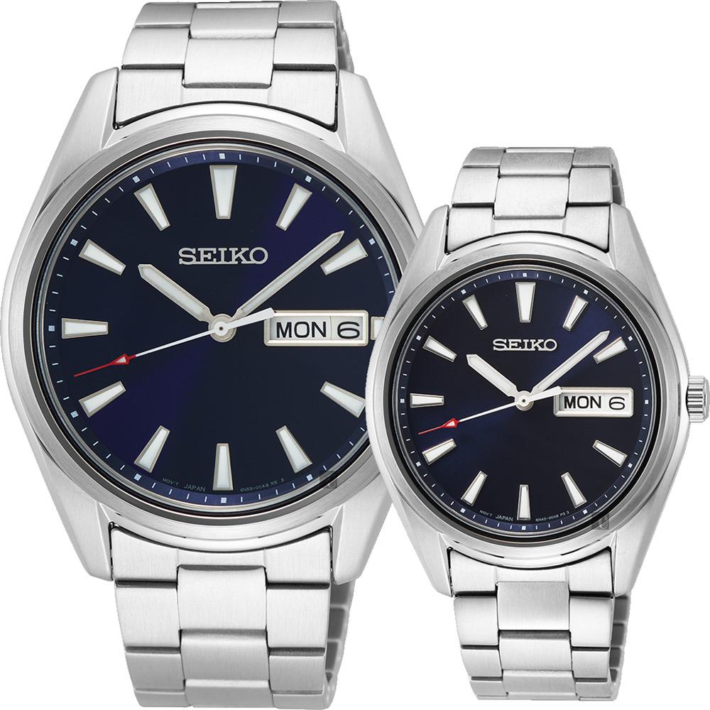 SEIKO 精工 CS城市日曆情侶手錶 對錶(SUR341P1+SUR347P1) 6N53-00A0B+6N43-00B0B