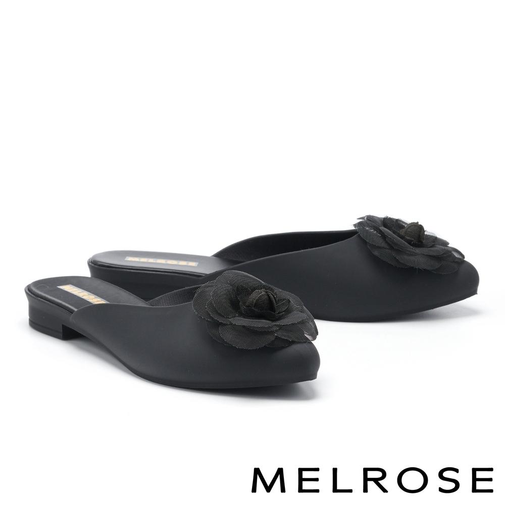穆勒鞋 MELROSE 氣質典雅網紗山茶花造型防水穆勒低跟拖鞋-黑