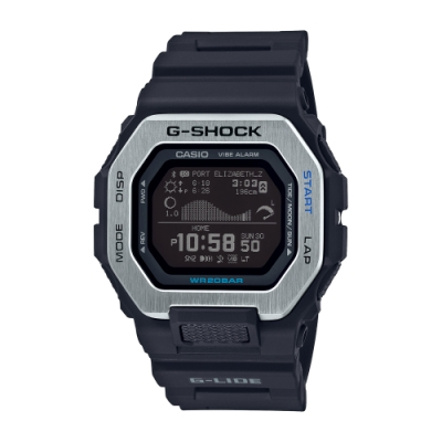 CASIO卡西歐 G-SHOCK 藍牙 雙重材質錶圈 衝浪運動 GBX-100-1_46mm