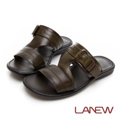 LA NEW PU氣墊 小牛皮拖鞋(男225073660)