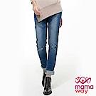 mamaway媽媽餵 刷破修身窄管牛仔孕婦褲