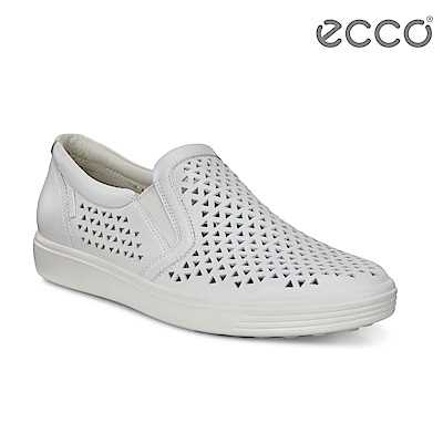 ECCO SOFT 7 W 幾何鏤空輕盈厚底鞋 女-白