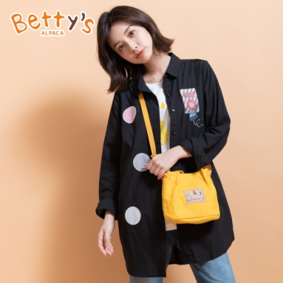 betty's貝蒂思 拼布繡線微透長版襯衫(黑色)