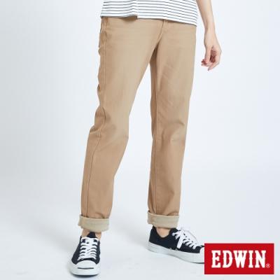 EDWIN JERSEYS 迦績 大尺碼 車織帶AB牛仔褲-男-淺卡其