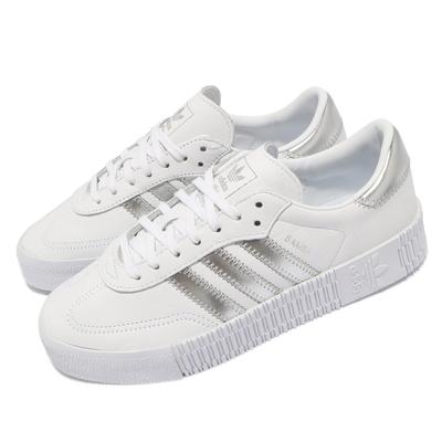 adidas 休閒鞋 Sambarose W 穿搭 女鞋 海外限定 愛迪達 舒適 簡約 皮革 白 銀 EE9017