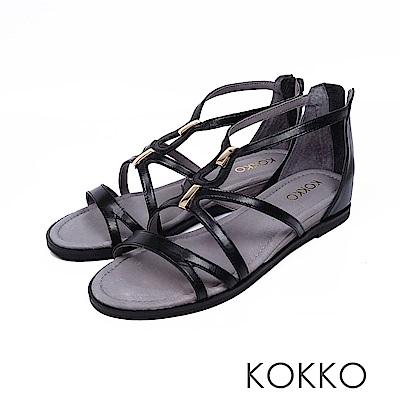 KOKKO  - 秘密約會羊皮內增高羅馬涼鞋-經典黑