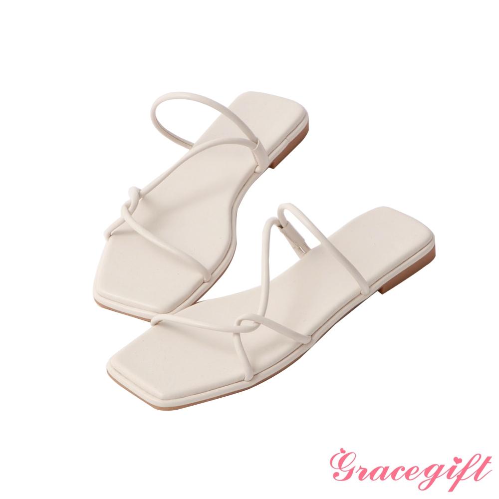 Grace gift-層次細帶平底涼拖鞋 米白
