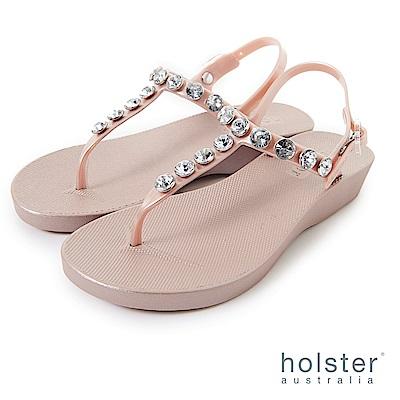 HOLSTER  果凍水鑽T字帶厚底涼鞋-粉金色