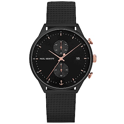 PAUL HEWITT Chrono Line風尚米蘭帶計時手錶-黑X玫瑰金/42mm