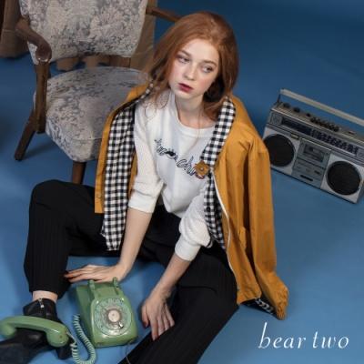 beartwo - 假兩件格紋襯衫拼接外套 - 黃