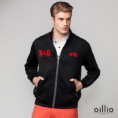 歐洲貴族oillio 休閒薄外套 光滑觸感 電烤刺繡 黑色