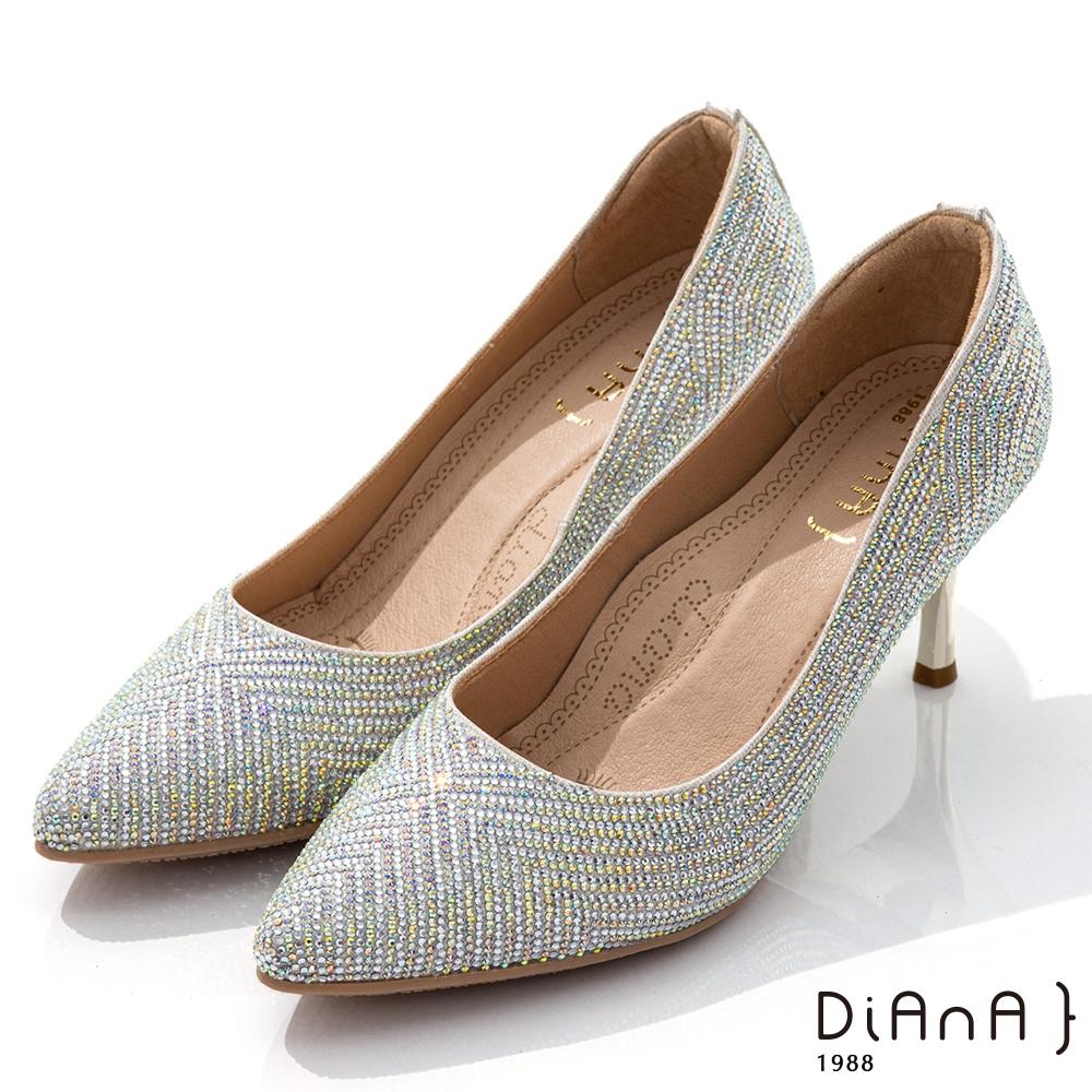 DIANA 7cm閃耀焦點水鑽幾何圖型尖頭跟鞋-漫步雲端焦糖美人-銀白