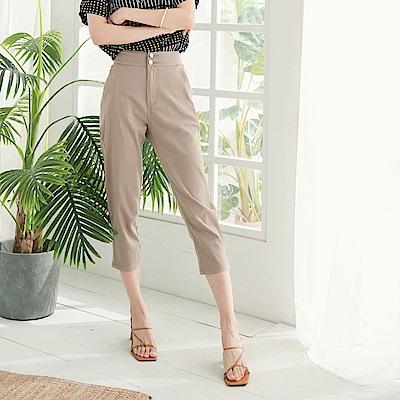 高含棉後鬆緊排釦窄管七分褲-OB大尺碼