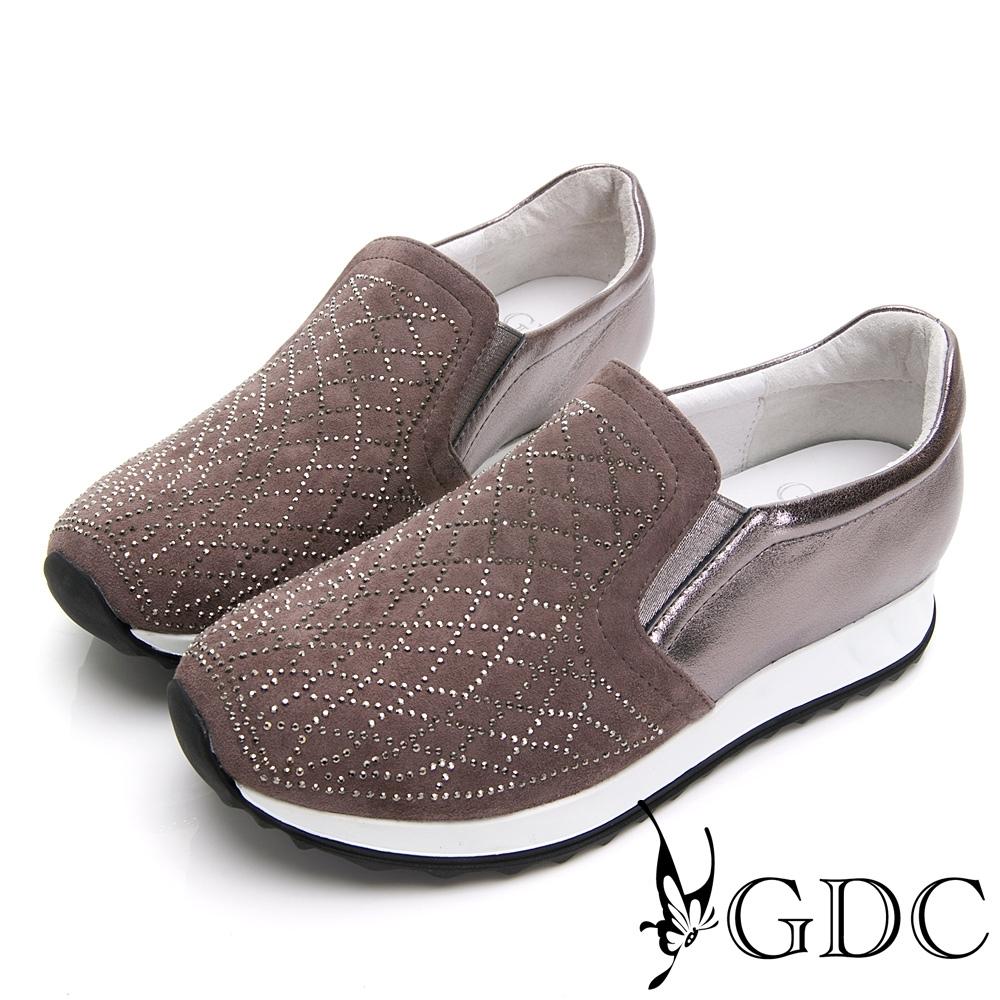 GDC-真皮拼接水鑽舒適秋冬休閒鞋-灰色