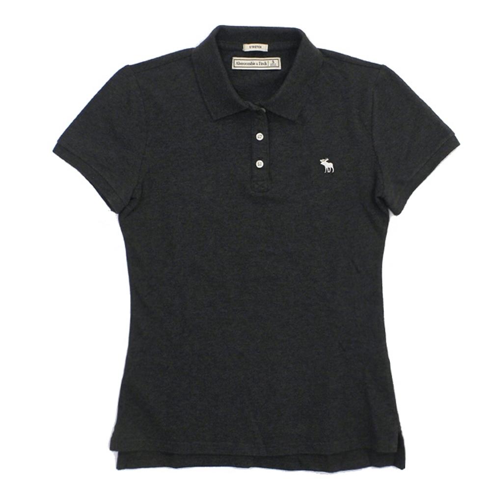 A&F 小麋鹿刺繡 Logo素色POLO衫(女/深灰S)