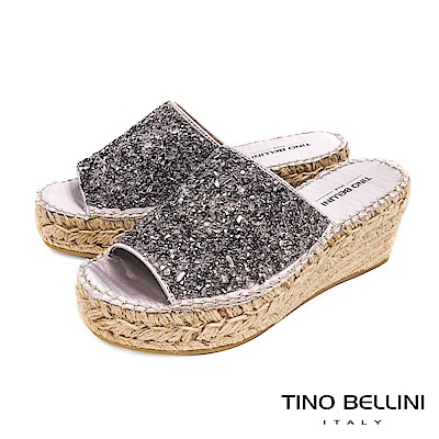 Tino Bellini 西班牙進口閃耀碎鑽麻編楔型涼拖鞋 _ 銀灰
