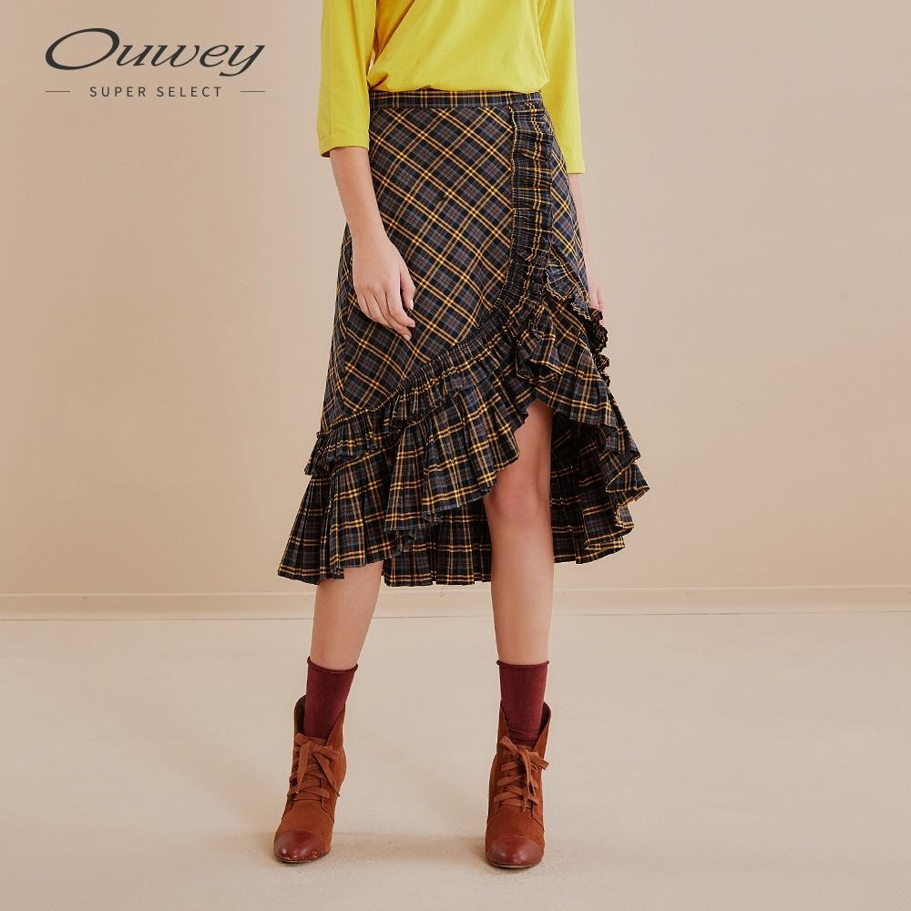 OUWEY歐薇 美式復古格紋細壓摺荷葉裙(藍)