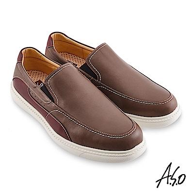 A.S.O機能休閒 輕量抗震拼色直套休閒鞋-灰褐