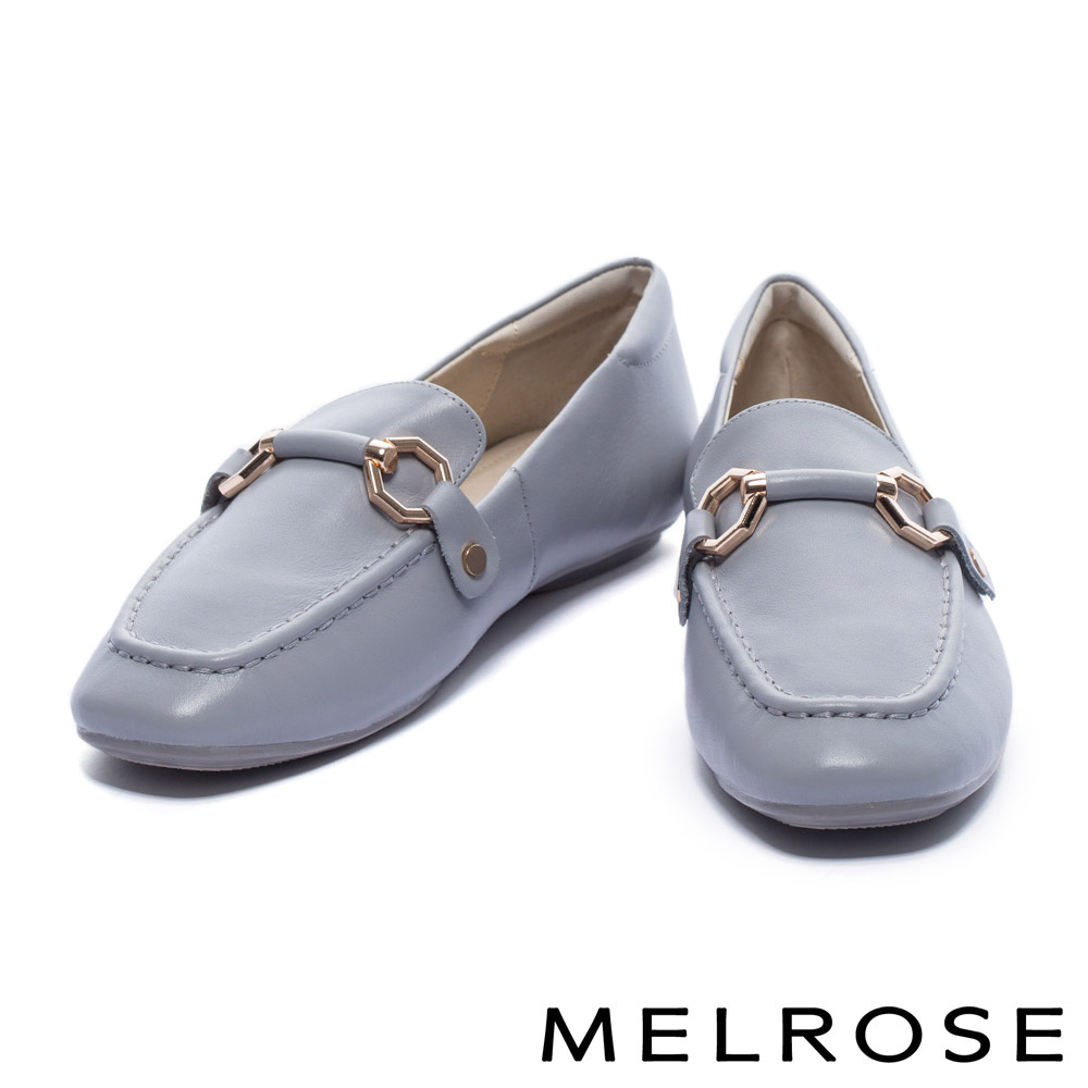 平底鞋 MELROSE 復古風潮金屬馬銜釦牛皮樂福平底鞋-灰