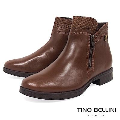 Tino Bellini巴西進口拼接蛇紋金屬拉鍊平底短靴_棕