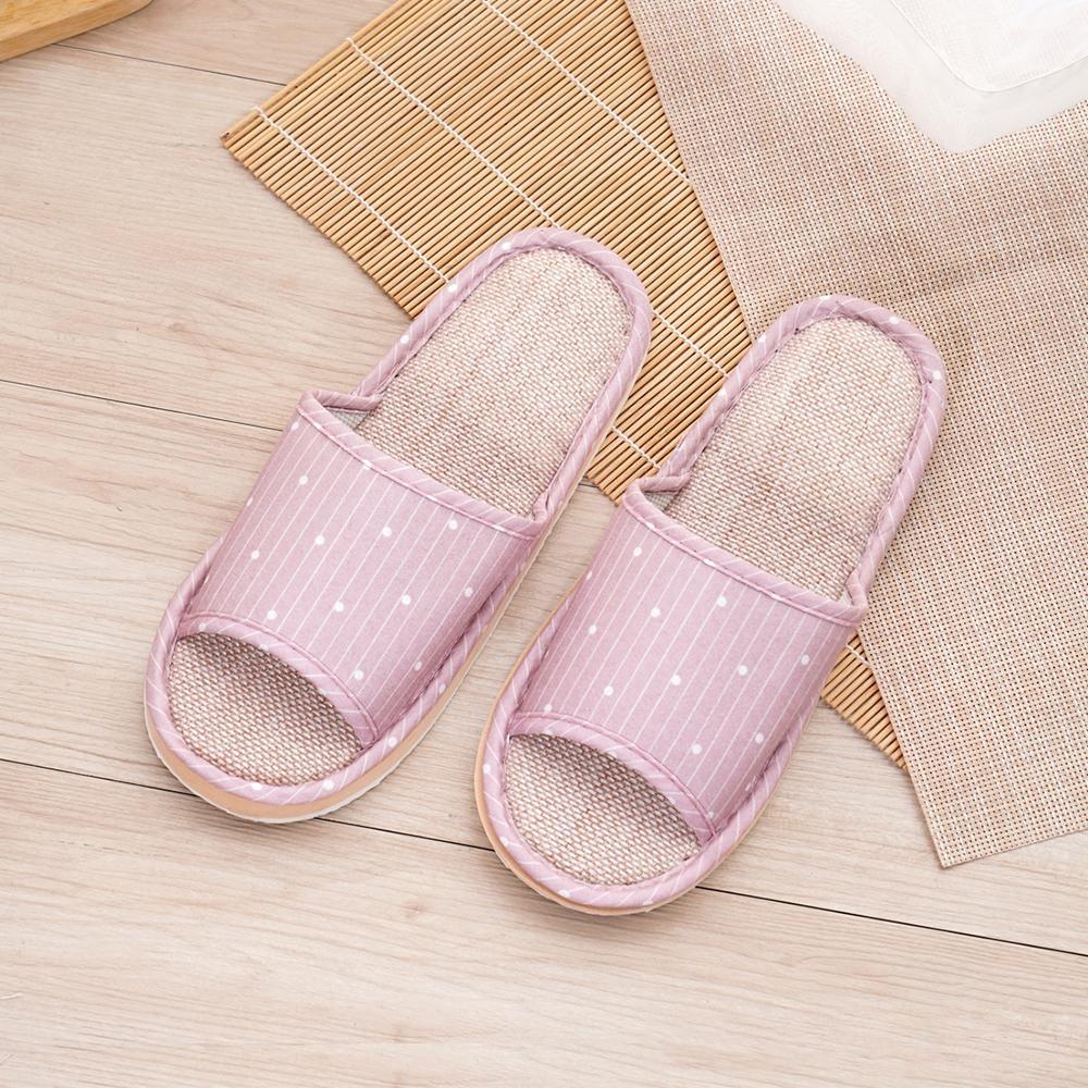 333家居鞋館 直條圓點室內蓆拖鞋-粉色