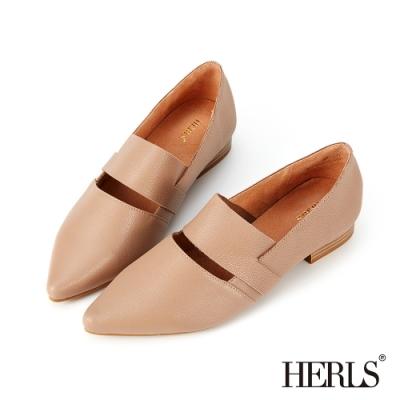 HERLS樂福鞋-全真皮橫帶鏤空尖頭低跟鞋樂福鞋-藕粉色