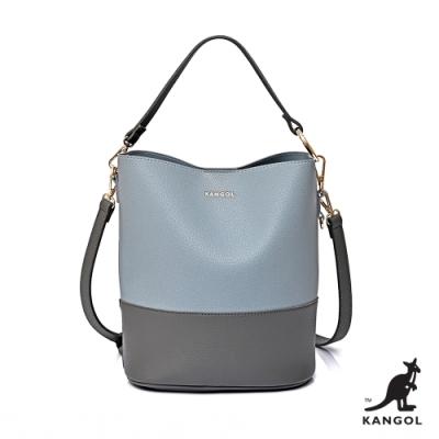 【KANGOL】英式典雅-拚色拉鍊手提/側背兩用包-藍