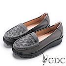 GDC-真皮秋冬閃爍水鑽舒適厚底休閒鞋-深灰色
