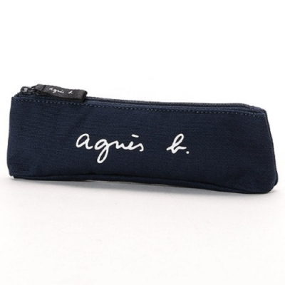 agnes b. Voyage 草寫LOGO帆布筆袋/萬用袋 (深藍)
