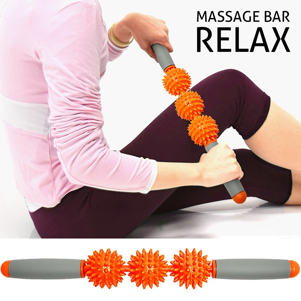 瑜珈滾輪棒三球按摩棒(刺蝟球)  /經絡棒筋膜棒/肩頸舒展紓壓棒指壓棒/瑜珈棒美人棒