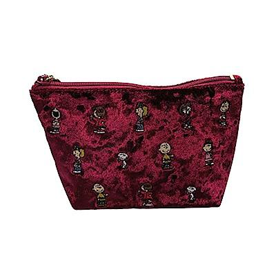 《SHO-BI》SNOOPY絲絨刺繡系列絨面化妝包(紅)