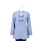 TORY BURCH Embellished 刺繡圖騰藍白條紋襯衫