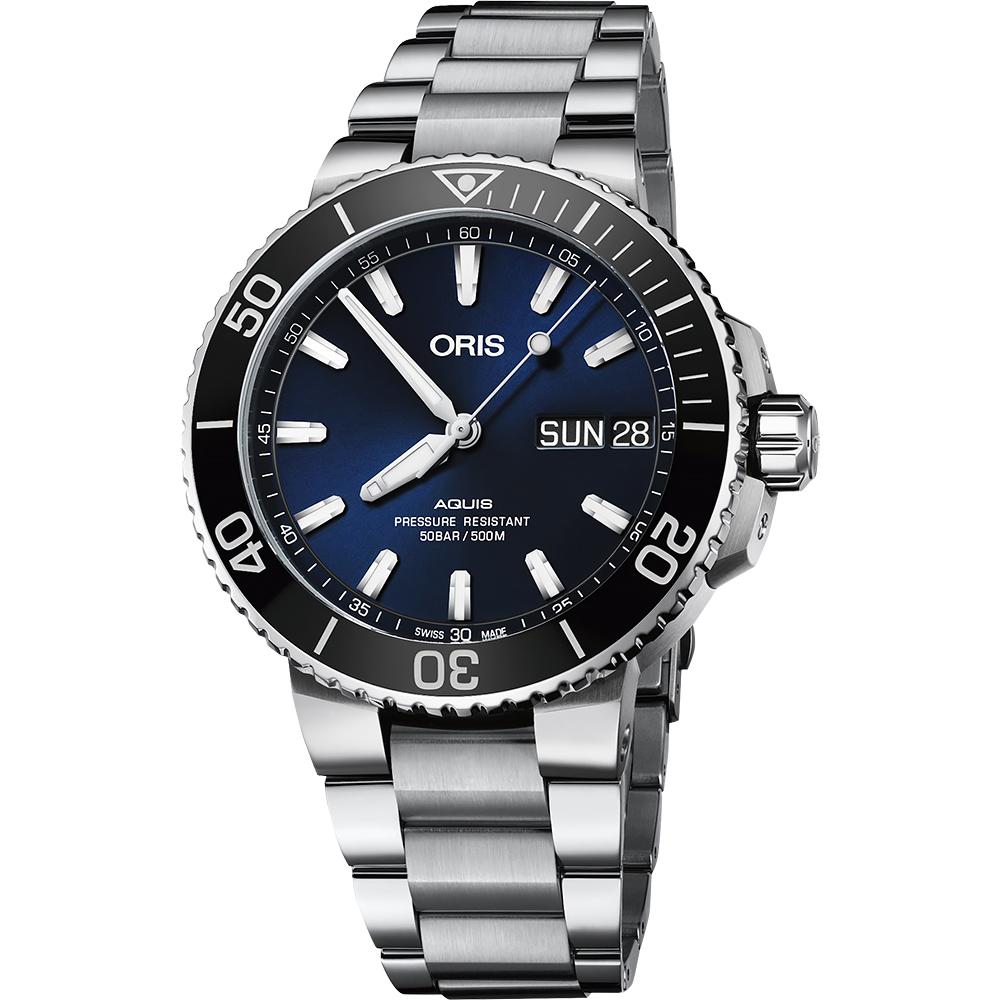 (無卡分期18期)Oris豪利時 Aquis 大視窗日曆500米潛水機械錶-藍x銀/45.5mm