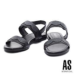 涼鞋 AS 淡雅氣質波浪造型壓紋牛皮條帶低跟涼鞋-黑