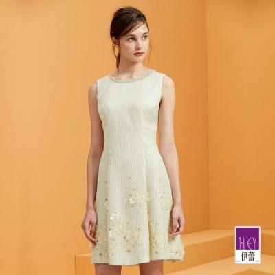 ILEY伊蕾 奢華織蔥貼花刺繡洋裝(金)