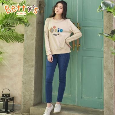 betty's貝蒂思 口袋設計鬆緊牛仔長褲(牛仔藍)