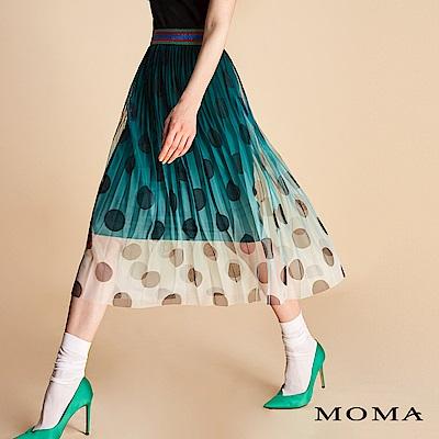 MOMA 金蔥織帶圓點壓褶裙