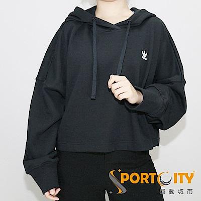 ADIDAS 女連帽時尚寬鬆上衣 黑 DH2759