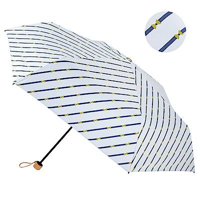 2mm 100%遮光 斜紋蝴蝶結黑膠輕量手開傘 (白色)
