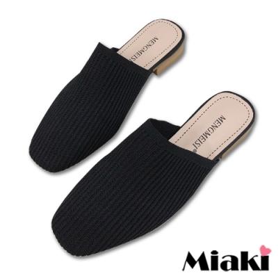 Miaki-穆勒鞋針織方頭休閒包鞋-黑