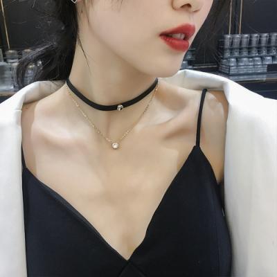 梨花HaNA 韓國個性使然圓鑽雙層頸鍊