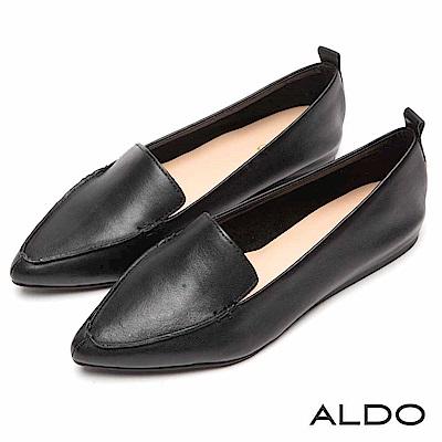 ALDO 原色真皮亮面幾何車線平底尖頭鞋~尊爵黑色