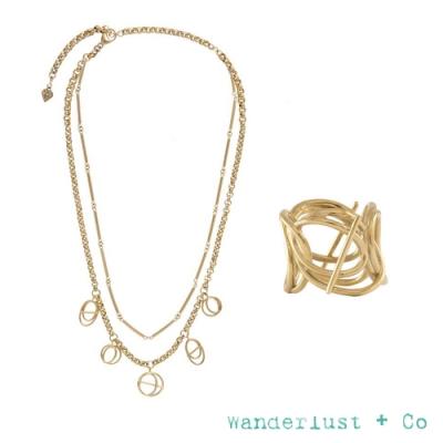 Wanderlust+Co 官方精緻禮盒 雙層次星軌金項鍊+層次星軌金戒指
