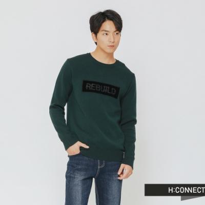 H:CONNECT 韓國品牌 男裝-特色標語針織上衣-綠(快)