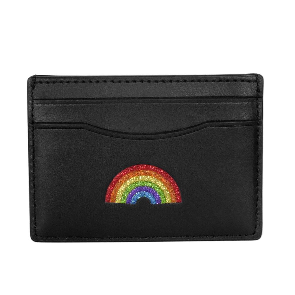 COACH黑色全皮亮粉彩虹貼飾雙面名片/票卡夾COACH
