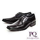 PQ 極簡方頭寬楦商務男皮鞋 綁帶基本款-黑